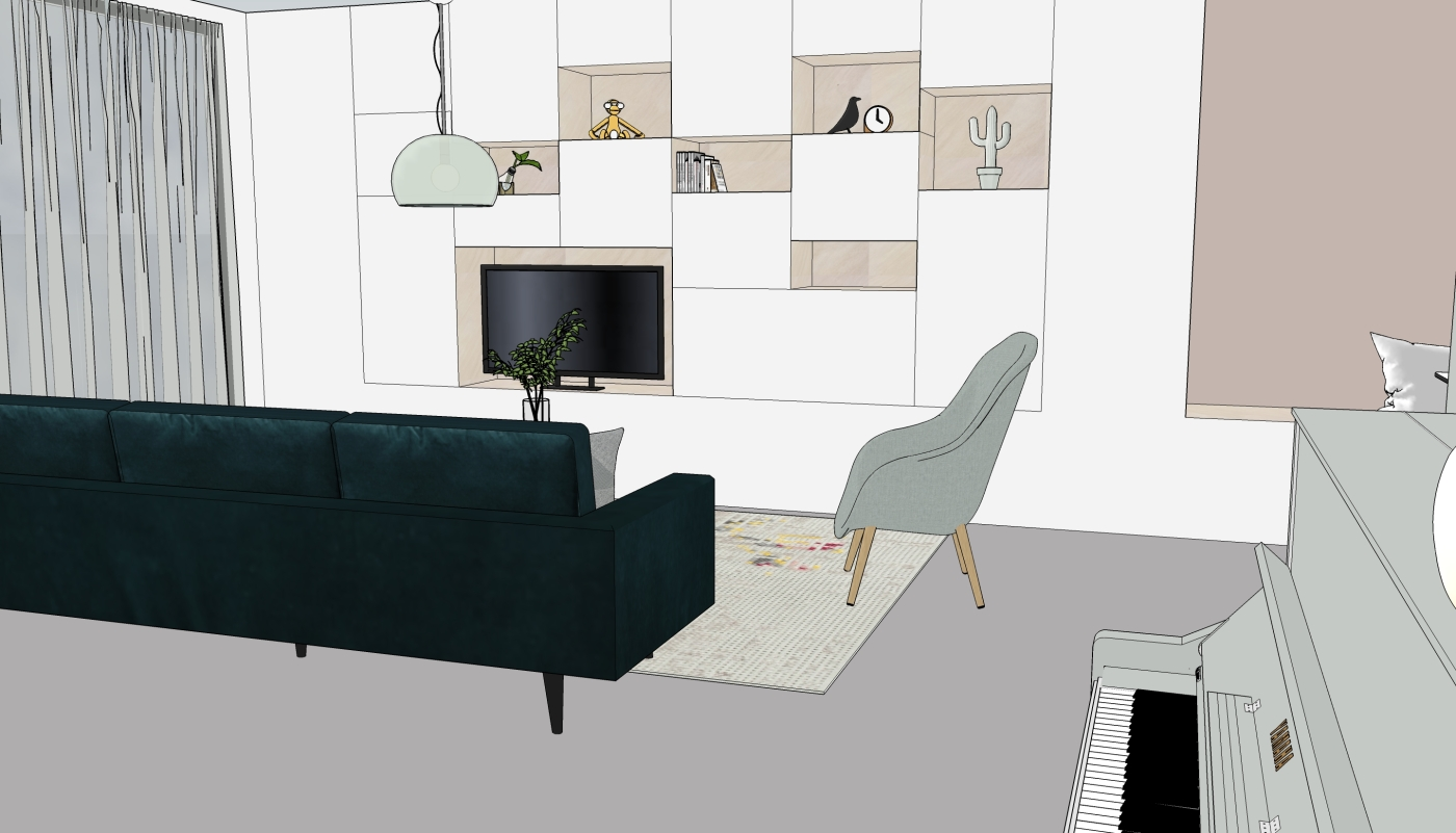 JaimyInterieur - ontwerp zitkamer:kast